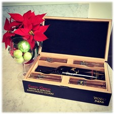 Black Essere Franco Cigar Box with Cigars & Bottle of Essere Franco